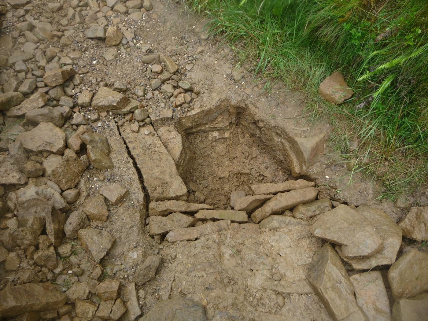 Stone pitching 3 - Gaps between the stones and filled with grit and soil